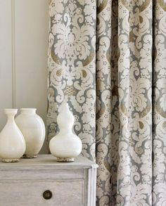 Grey, white and gold Brockham curtain fabric - a lovely classic combination from Colefax and Fowler. Oh, so English...