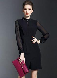 #BFCM #CyberMonday #Oasap - #oasap Chiffon Sleeve Little Black Bodycon Dress - AdoreWe.com