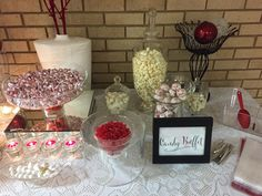 Red and White candy buffet created by Unique Indulgences!