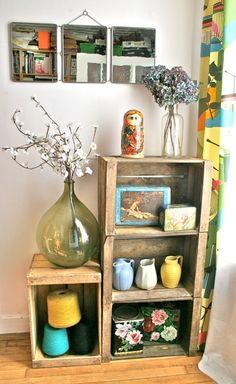 Anciennes caisses en bois sur www.retourdechine.fr