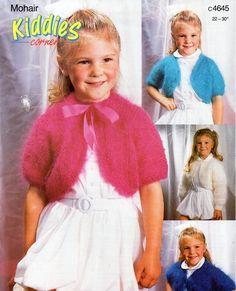 "Childrens mohair boleros knitting pattern PDF girls bolero short / long sleeve v / round neck 22-30"" 10ply mohair PDF Instant Download by Minihobo on Etsy"