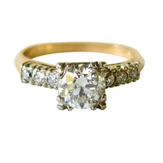 1930s 1.25 Carat Diamond Engagement Ring European Cut | From a unique collection of vintage solitaire rings at http://www.1stdibs.com/jewelry/rings/solitaire-rings/