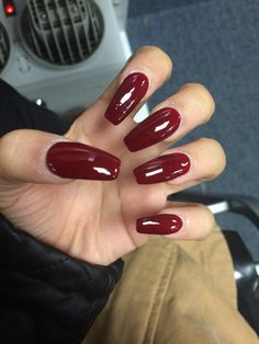 Burgundy long coffin shape acrylic nails