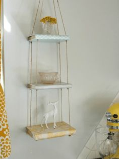 """DIY """"Book Shelf""""- Decor Fix - These hanging shelves are so stinkin& cute…and they& all books! Diy Old Books, Old Book Crafts, Book Page Crafts, Recycled Books, Newspaper Crafts, Upcycled Crafts, Repurposed, Diy Hanging Shelves, Book Shelf Diy"""