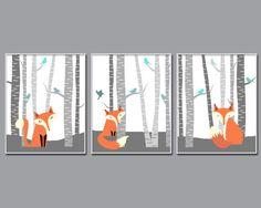 Fox Nursery Wall Art Print, Nursery Art Print, Fox and Trees Nursery Prints, Baby Boy Nursery Wall Art Print,  Bedroom Decor N527,528,529