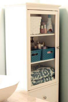 IHeart Organizing: Our Newly Organized Bathroom Bliss (inc. his & hers baskets)