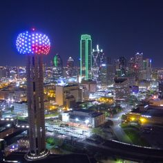 Feeling inspired by all of the love and support for those impacted by Together, we are -The Ball ❤️ Dallas Skyline, Seattle Skyline, Fort Worth, Texas, Tower, Inspired, Night, City, Places