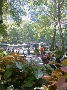 Bryant Park Grill, situated behind the New York Public Library with Bryant Park as a backdrop, (212) 840-6500, open Sun-Thurs 11:30a-11p, Fri and Sat 11:30-midnight