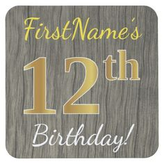 Faux Wood Faux Gold 12th Birthday  Custom Name Square Paper Coaster - party gifts gift ideas diy customize