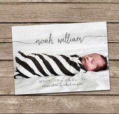 Geburtsanzeige: Noah Baby Boy Skript von deanworks auf Etsy