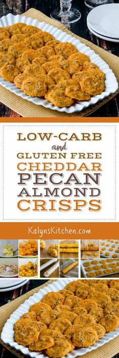Low-Carb and Gluten-Free Cheddar Pecan Almond Crisps are an absolute treat for a holiday party or to nibble while watching sports! I used almond flour to make these low-carb and gluten-free, but there (Cheese Making Low Carb) Low Carb Appetizers, Appetizer Recipes, Snack Recipes, Cooking Recipes, Bar Recipes, Free Recipes, Cooking Tips, Low Carb Bread, Low Carb Keto