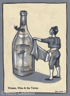 Woman, Wine and the Torres - Giclee Print Woman Wine, Decorative Bells, Giclee Print, Gallery, Artist, Artwork, Women, Work Of Art, Roof Rack
