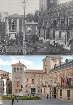 Casa de Cisneros, Plaza de la Villa - En 1905 y en la actualidad. Foto Madrid, Cisneros, San Bernardo, Plaza, Louvre, Building, Travel, Photo Caption, Old Photography