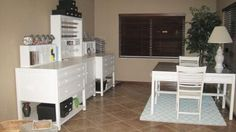 My new craft room. Furniture is Martha Stewart Craft Space Collection from Home Decorators.