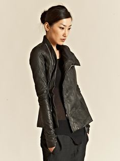 Rick Owens leather jacket + all black outfit + Green Lime Leo by SillyCamilly