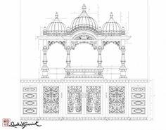 Sringasan_ATD_DrdhaVG Mughal Architecture, Temple Architecture, Architecture Drawings, Historical Architecture, Temple Design For Home, Black And White Building, Decoration For Ganpati, Persian Pattern, Tanjore Painting