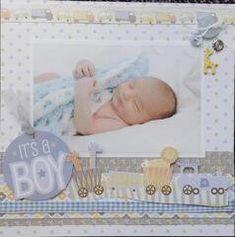 Layout: It's a Boy (Mini Album) Scrapbook Bebe, Large Scrapbook, Baby Girl Scrapbook, Baby Scrapbook Pages, Birthday Scrapbook, Scrapbook Titles, Scrapbook Layout Sketches, Scrapbooking Layouts, Pregnancy Scrapbook