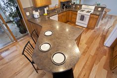 Woodbury, MN kitchen remodel - Wall opened between kitchen and dining room… Round Kitchen Island, Kitchen Peninsula, Kitchen Island With Seating, Kitchen Time, Kitchen Redo, Kitchen Islands, Pantry Design, Kitchen Design, Wood Kitchen Cabinets