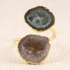 India Colors, Ring Shapes, Rings For Her, Brass Jewelry, Druzy Ring, Plating, Stone, Detail, Yellow