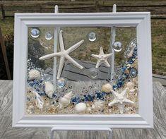 "Heart of the Sea, Sea Glass Art, 15 ""x – favorite – Epoxy Home Seashell Art, Seashell Crafts, Beach Crafts, Sea Glass Crafts, Sea Glass Art, Mosaic Glass, Diy Resin Crafts, Crushed Glass, Window Art"