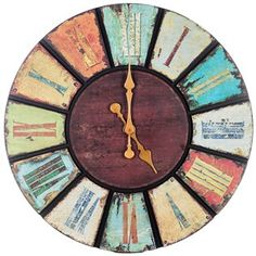Multi Color Round Wooden Wall Clock | Shop Hobby Lobby $79.99 but I think it's 50% in store! ahhh! NEED THIS.