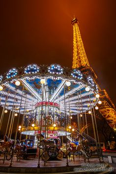 Paris Eiffel tower with carousel