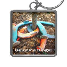 Gimme' a Ringer Horseshoe Pitching Gifts Key Chains SOLD on Zazzle