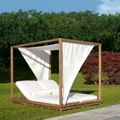 LUX by Giovanna Azzarello - Contemporary daybed / fabric / teak / outdoor by Colico Outdoor Lounge, Outdoor Beds, Outdoor Cabana, Outdoor Chairs, Outdoor Living, Outdoor Furniture, Tropical Chairs, Diy Furniture Restoration, Gardens