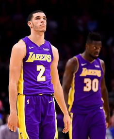 Lonzo Ball Photos - Lonzo Ball  2 of the Los Angeles Lakers reacts with  Julius 59f0a000c