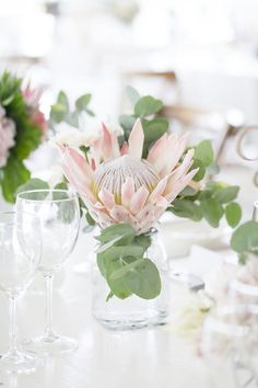 Blushing Bride Protea Wedding at White Light by As Sweet As Images Protea Wedding, Winter Wedding Flowers, Rustic Wedding Flowers, Wedding Flower Arrangements, Flower Bouquet Wedding, Bride Bouquets, Flor Protea, Protea Flower, Wedding Table Decorations