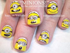 MINIONS!!! Despicable Me Nail-art by Robin Moses