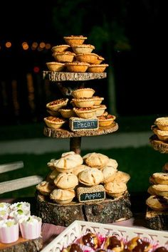 Rustic Pie Delights - Seven Ways to Serve Pie at Your Wedding - Southernliving. Showcase your favorite fall mini-pies on a rustic three-tiered cake stand. A generous selection of apple, pecan, and sweet potato pies will keep your guests lingering around the dessert table. See the Pin
