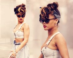 Rihanna, aka perhaps the only woman that looks sexy in paperbag waisted stonewashed jeans!