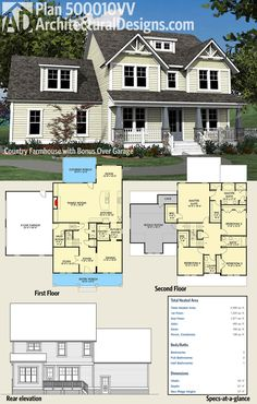Architectural Designs 4 Bed Country Farmhouse Plan 500010VV has a welcoming front porch with 4 tapered columns, an open floor plan with a circular flow, and 4 beds upstairs with laundry and expansion possibilities as well. Over 3,300 square feet of heating living space. Ready when you are. Where do YOU want to build?