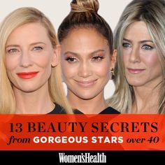 13 Beauty Secrets From Gorgeous Stars Over 40: http://www.womenshealthmag.com/beauty/celebrity-beauty-secrets?cm_mmc=Pinterest-_-womenshealth-_-content-beauty-_-beautyfromstarsover40