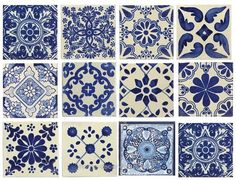 10 Large Blue & White Mexican or Spanish Style Tiles for Home Decor, Accent pieces or crafts Blue & white, mixed styles, Mexican/Spanish Decorative Ceramic Talavera Tiles. These are beautiful & truly the perfect decorative accent. Mexican Style, Mexican Spanish, Spanish Style Homes, Spanish Style Decor, Spanish Tile, Spanish Colonial Kitchen, Mediterranean Home Decor, House Tiles, House Floor