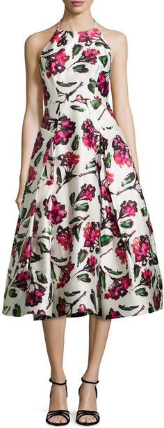 Milly Floral Halter Tea-Length Dress