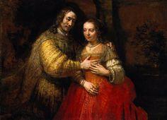 #2- La novia judía, Rembrandt. Vease detalle de manos y joyas.
