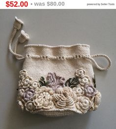 Sale 35% Bag small handmade Irish lace. Crochet, decorated with flowers. Style boho, retro.