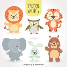 Lion Owl Tiger Elephant Bunny Bear