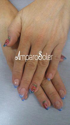 Uñas Acrílicas con punta azul glitter, cover hd, vibrant pink y A clear powder