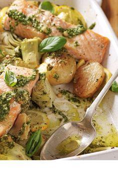Salmon, artichoke and potato pesto one pan bake