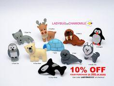 ARCTIC ANIMALS felt magnets - Price per 1 item - make your own set - Walrus,Polar bear,Polar fox,Seal,Orca whale,penguin,Snowy Owl,Reindeer