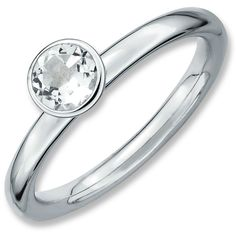 Sterling Silver Stackable Expressions High 5mm Round White Topaz Ring