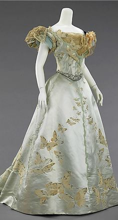 ball gown dress in pale aqua silk & champagne lace with butterfly embroidery, ca 1898