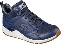 SKECHERS Womens OG 95 High Stepper Navy Oxford -- You can get more details by clicking on the image. (This is an affiliate link) Sneakers Mode, Sneakers Fashion, Fashion Shoes, Women Oxford Shoes, Cute Woman, Smooth Leather, Skechers, Jogging, All In One