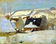 Breton Village in Snow by Paul Gauguin Giclee Fine Art Print Repro on Canvas
