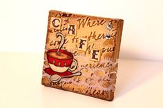 Cafe Mini Canvas Altered Art Altered Canvas by MrsKristenCreations