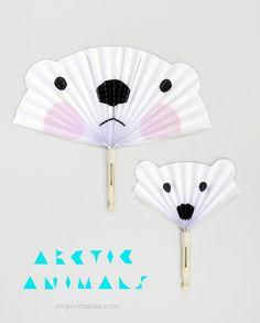 Arctic Animals DIY Paper Fans - Mr Printables