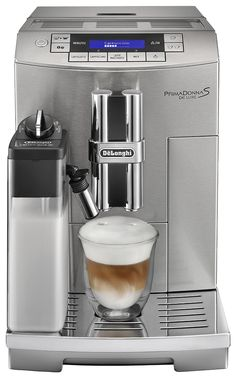 Delonghi Prima Donna Fully Automatic Espresso Machine with latte Crema System, Silver ** You can find more details by visiting the image link. Cappuccino Maker, Espresso Maker, Coffee Cafe, Coffee Shop, Espresso Machine Reviews, Automatic Espresso Machine, Best Espresso, Latte Macchiato, Diy Kitchen Decor